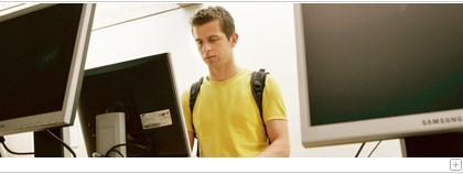 Student at a computer terminal